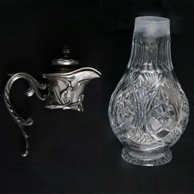 изготовление хрустальных  колб для антикварных графинов, кувшинов. ваз в замен утраченных