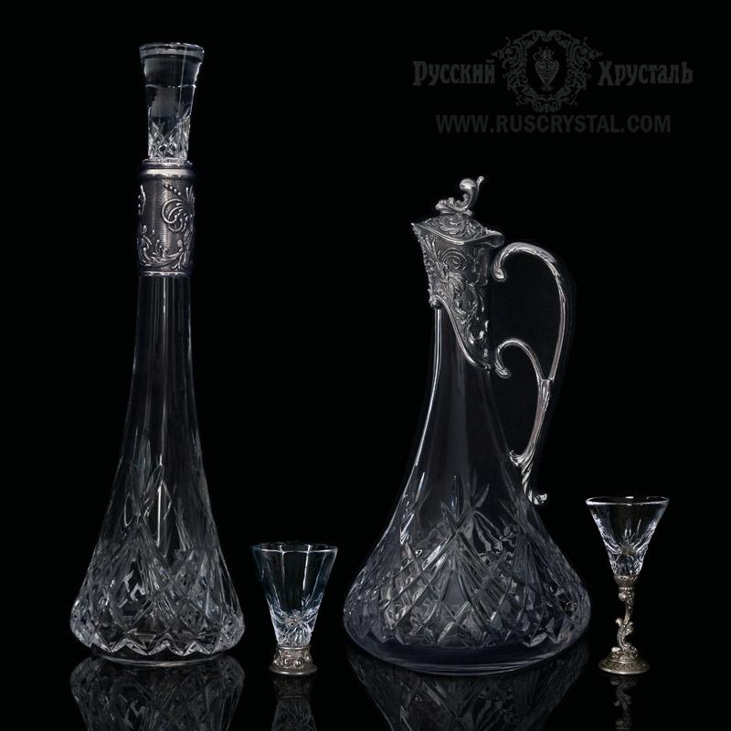сервизы подарочные наборы из хрусталя  и серебра или посеребренной бронзы