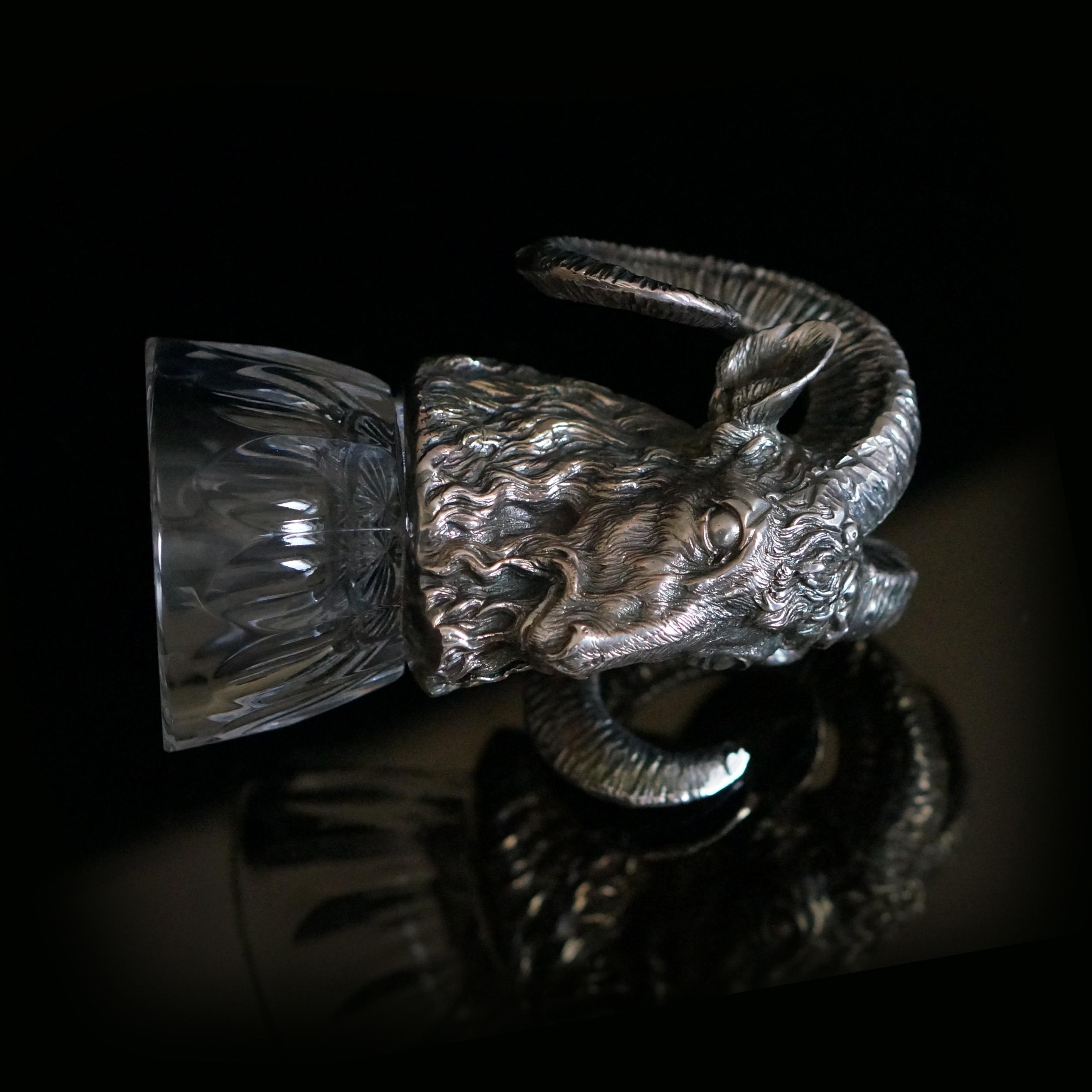 чарка ритон АРХАР из набора ОХОТНИЧИЙ Хрусталь  Серебро или бронза с гальваническим покрытием серебром.