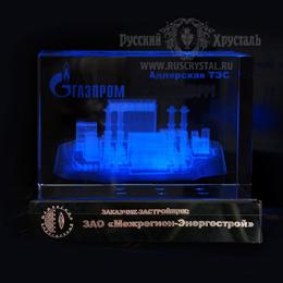 корпоративный фирменный сувенир с изображением предприятия  внутри стекла на подиуме с подсветкой