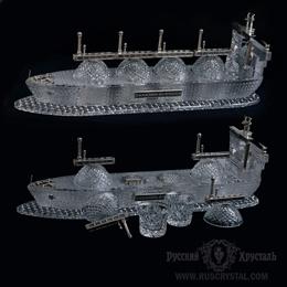 корпоративный подарок  ГАЗОВЫЙ ТАНКЕР из хрусталя и чистого серебра