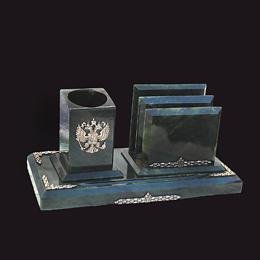 настольный письменный прибор из нефрита с Гербом России