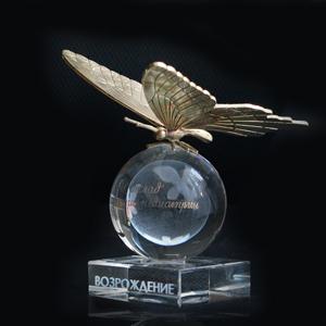 приз из стекла оптического с лазерной гравировкой и литой бронзы