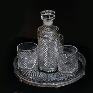 Подарочный набор из хрусталя ручной щлифовки и чистого серебра  8 предметов вес серебра 1400 гр.